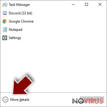 More options of Task manager