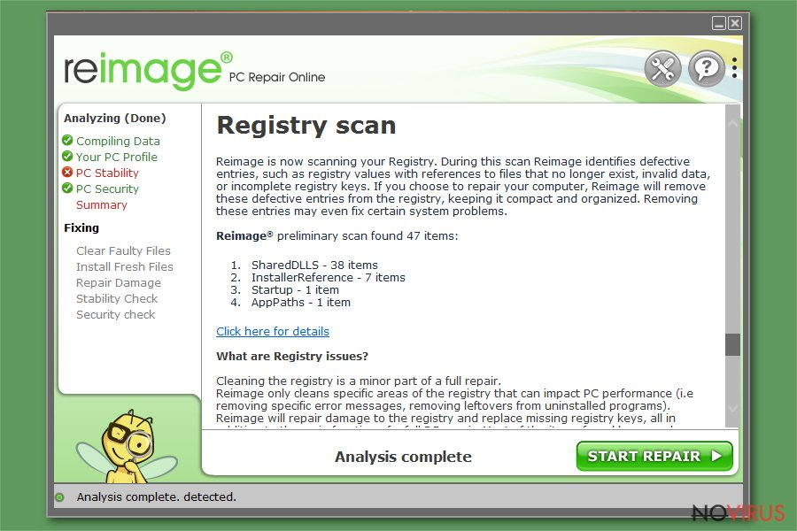 Registry scan for cleaning purposes