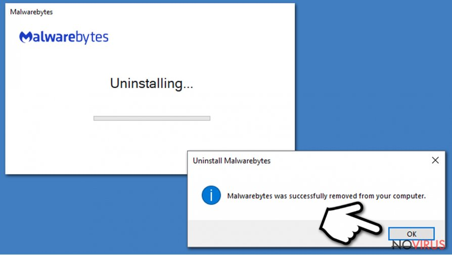 Finalize Malwarebytes uninstall