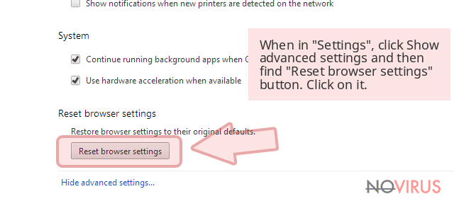 When in 'Settings', click Show advanced settings and then find 'Reset browser settings' button. Click on it.