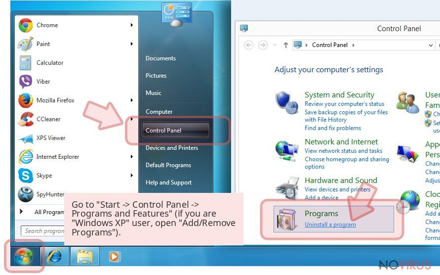Go to 'Start -> Control Panel -> Programs and Features' (if you are 'Windows XP' user, open 'Add/Remove Programs').