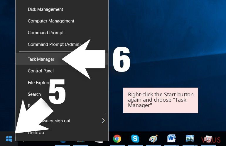 Right-click the Start button again and choose 'Task Manager'