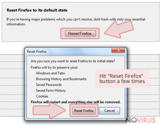 Hit 'Reset Firefox' button a few times