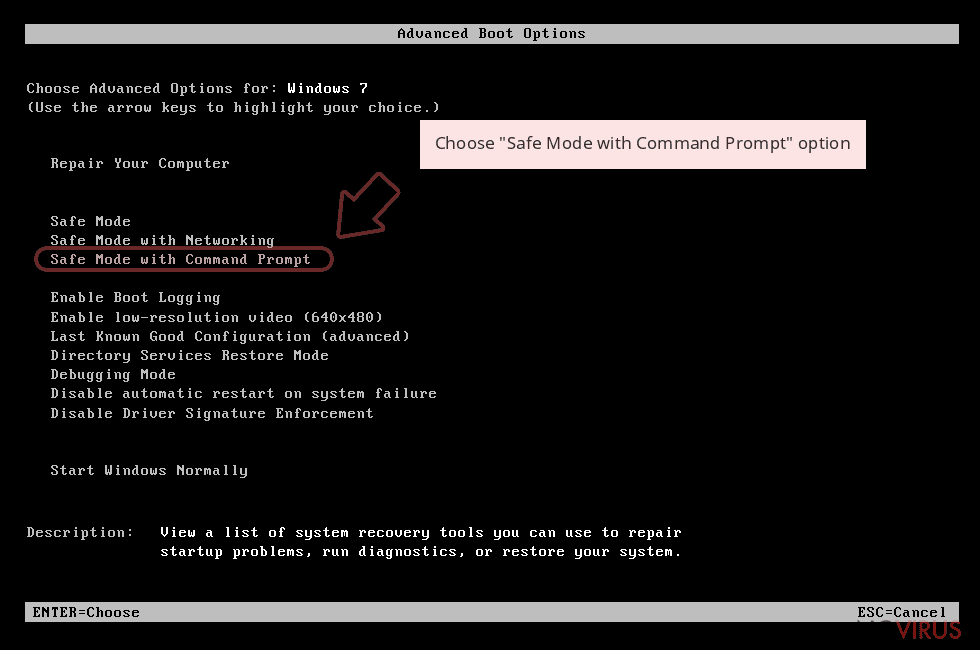 Choose 'Safe Mode with Command Prompt' option