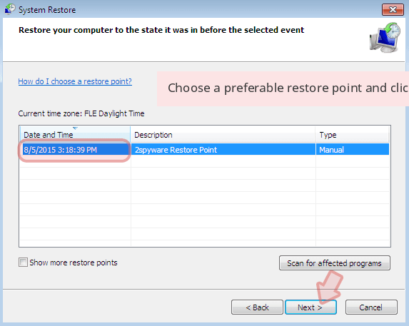 Choose a preferable restore point and click 'Next'