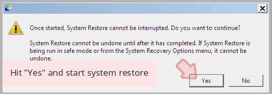Hit 'Yes' and start system restore