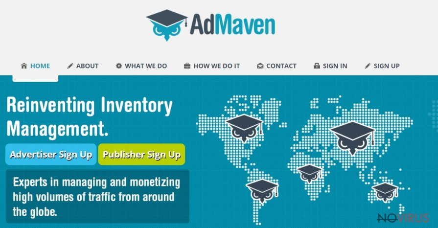 The screenshot of AdMaven website