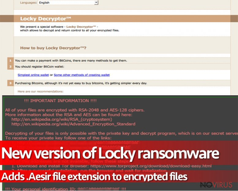 .Aesir file extension virus is another version of Locky