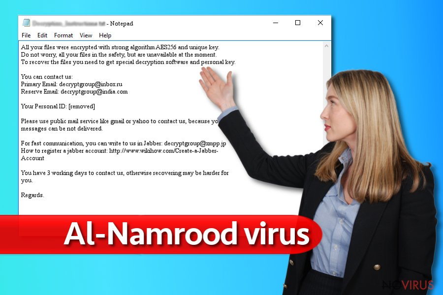 Al-Namrood virus screenshot