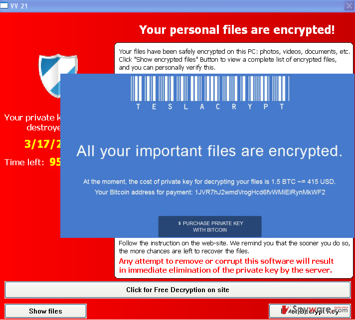 The note generated by TeslaCrypt virus
