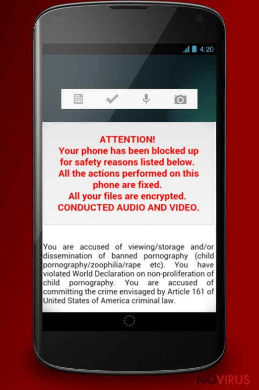 The example of Android ransomware virus