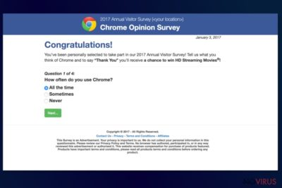 The example of Annual Visitor Survey on Chrome