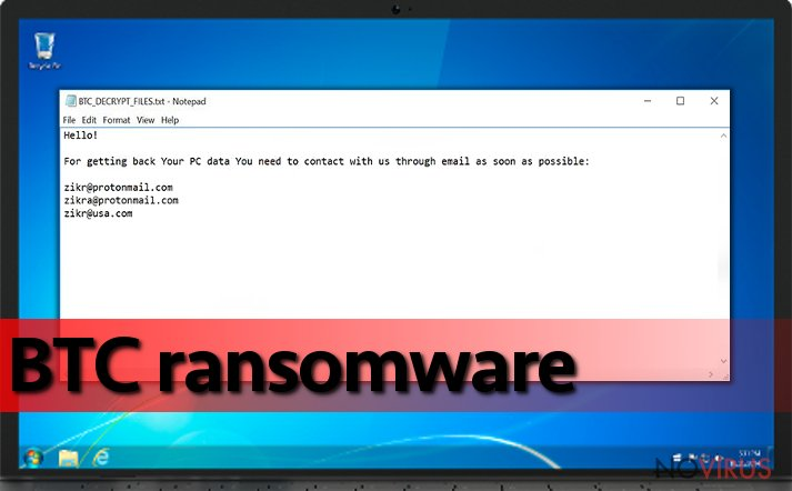 BTC ransomware on the infected devise