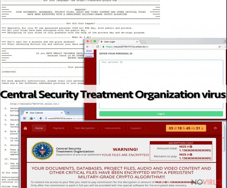 The example of Central Security Treatment Organization virus
