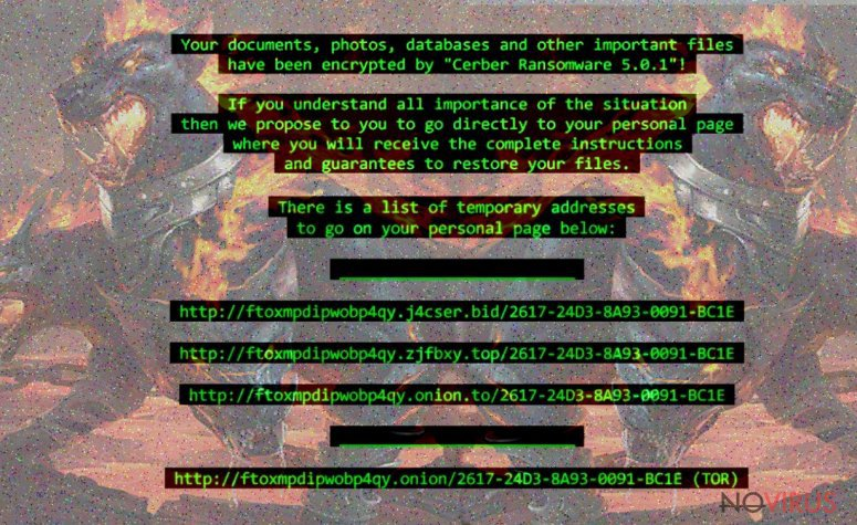 Cerber 5 ransomware screenshot