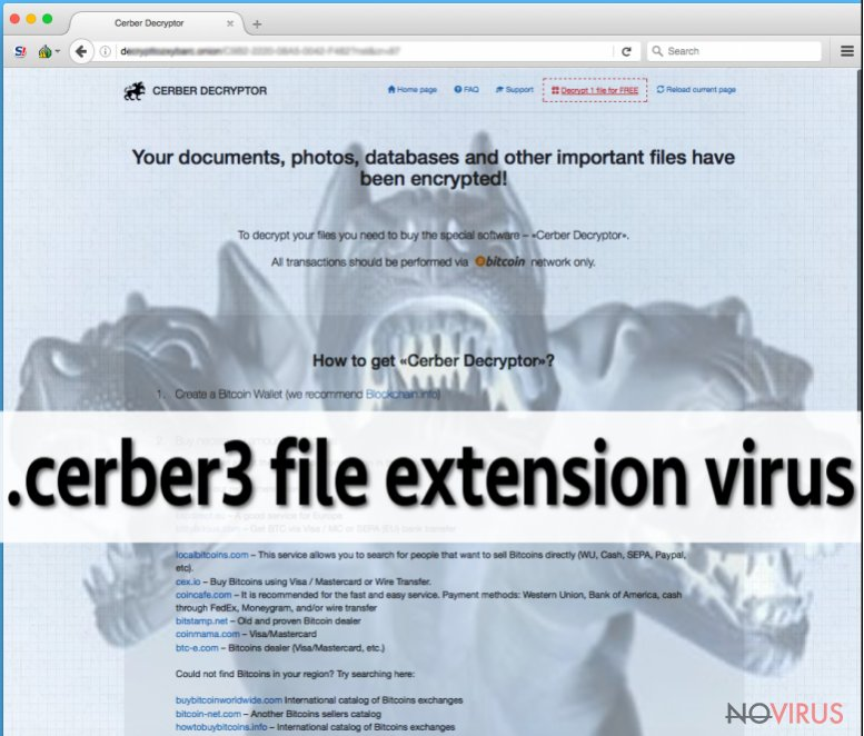 the picture of .Cerber file extension virus