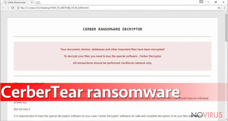 CerberTear virus is  poor copy of Cerber ransomware