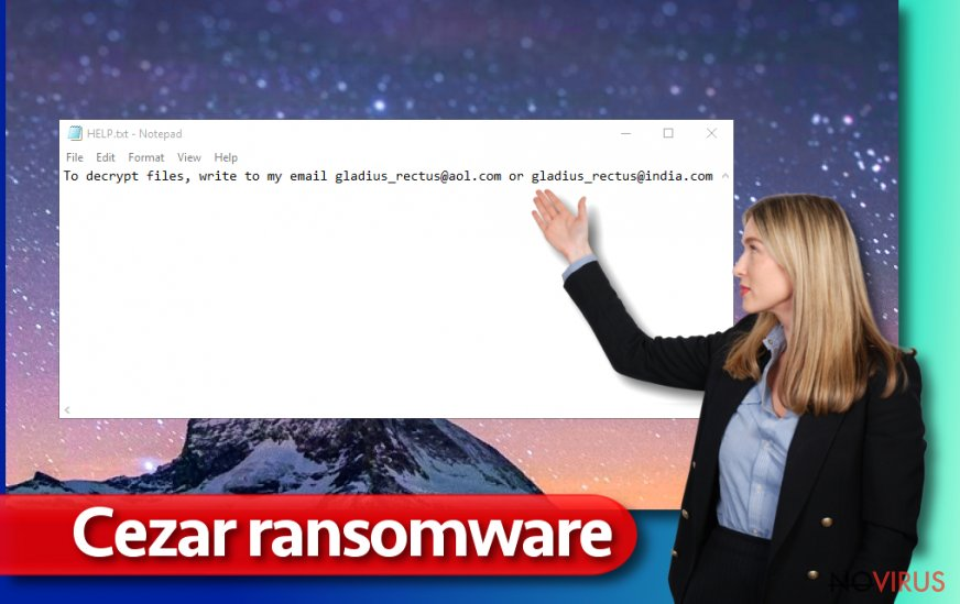 The illustration of Cezar ransomware virus attack