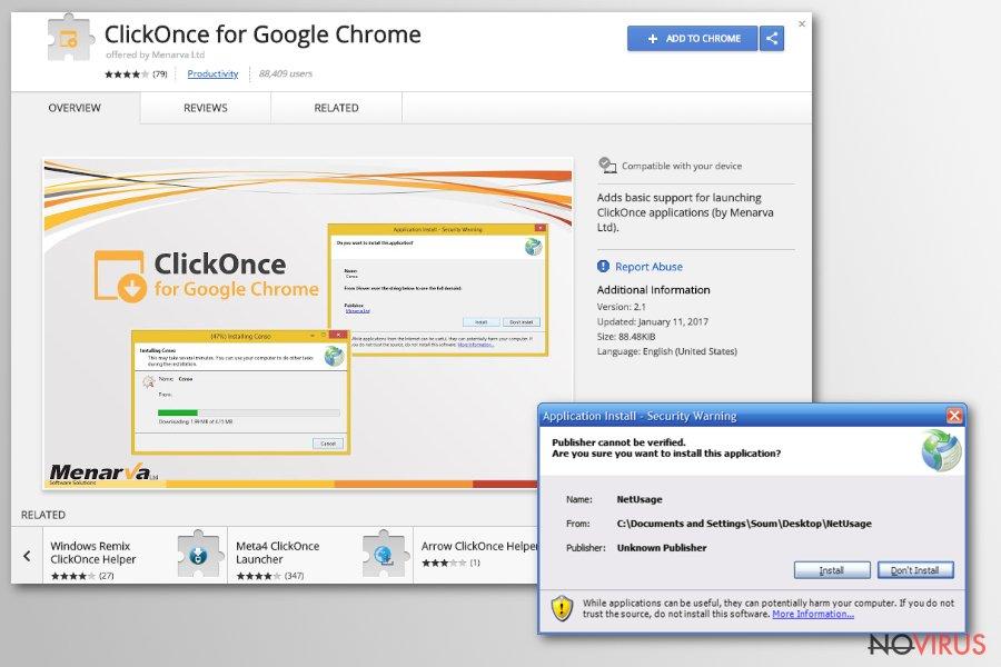 Chrome redirect virus screenshot