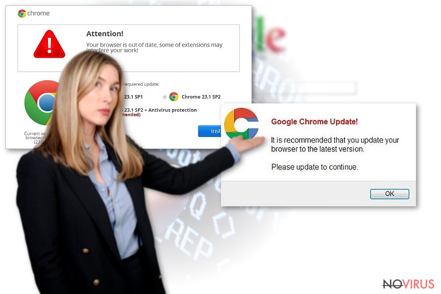Chrome redirect virus screenshot