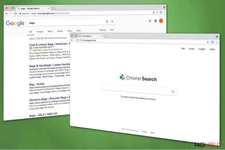 The main page ofChromesearch.info hijacker
