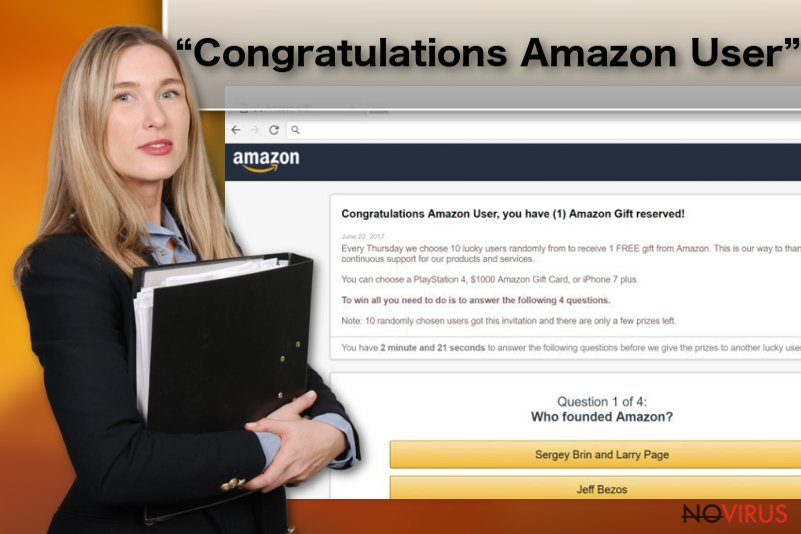 """Congratulations Amazon User"" scam picture"
