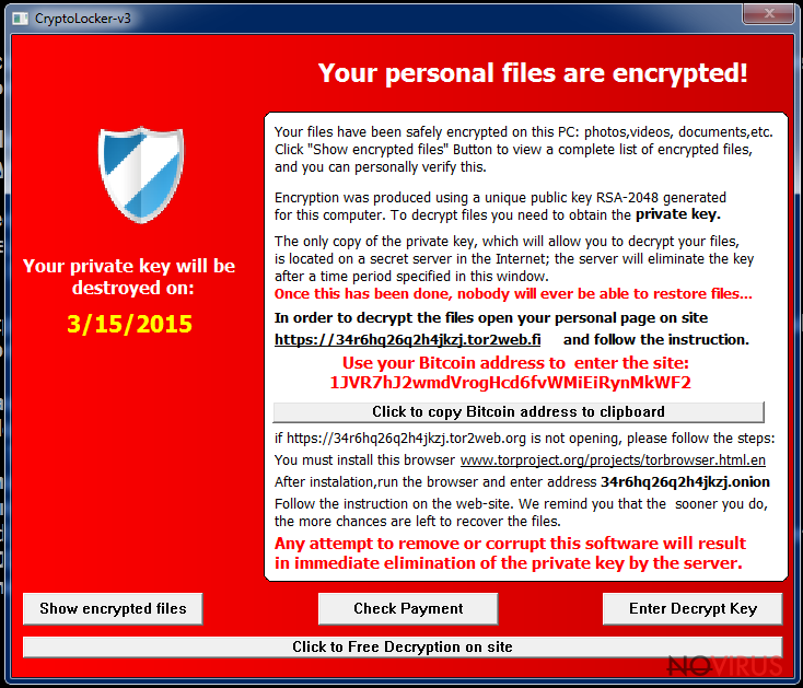 The picture of ransom note delivered by Cryptolocker-v3 virus