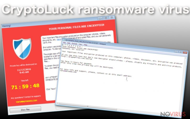 CryptoLuck virus encrypts personal files