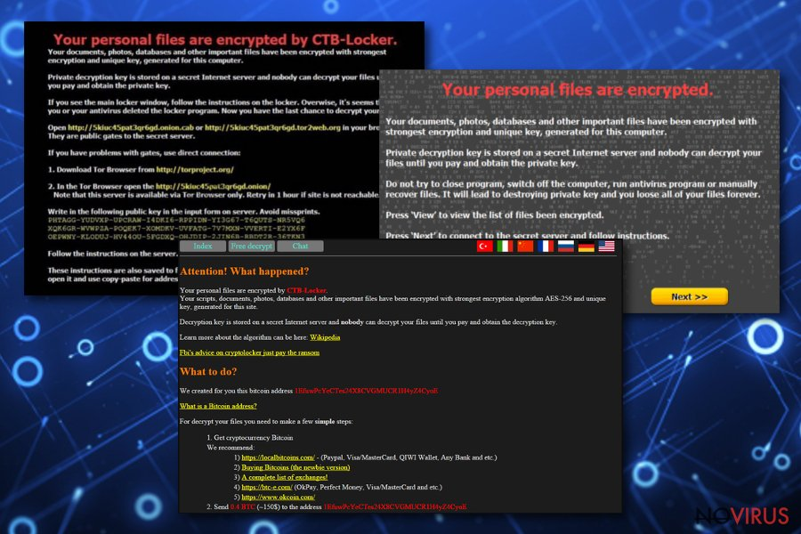 CTB Locker virus screenshot