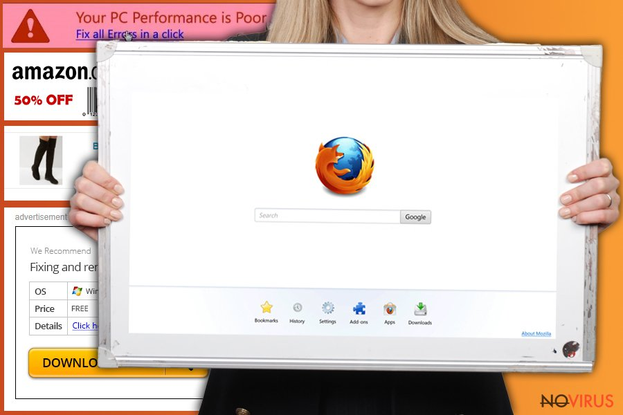 The picture of Firefox redirect virus