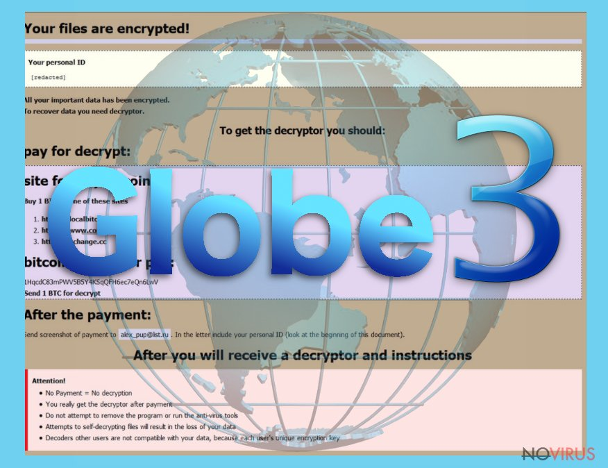 The illustration of Globe3 ransomware virus