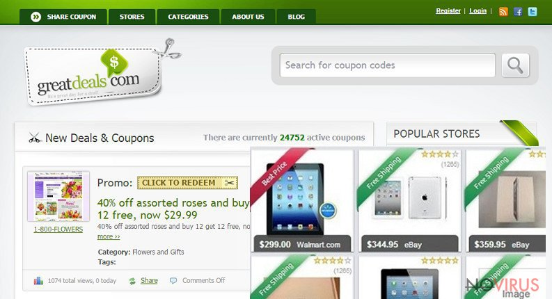 The example of ads by Great Deals virus