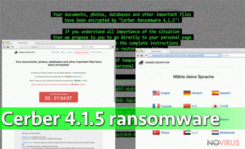 Cerber 4.1.5 virus is the latest version of the Cerber ransomware
