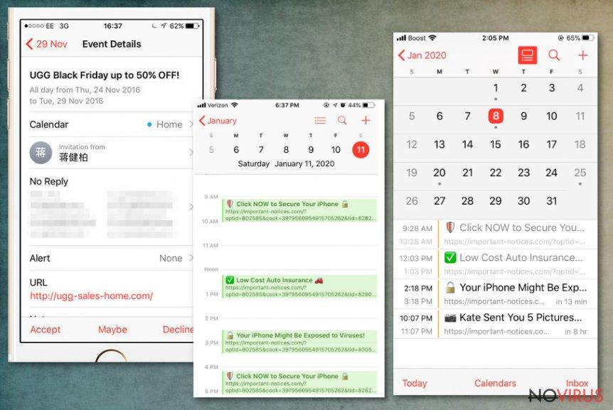 Calendar virus redirects