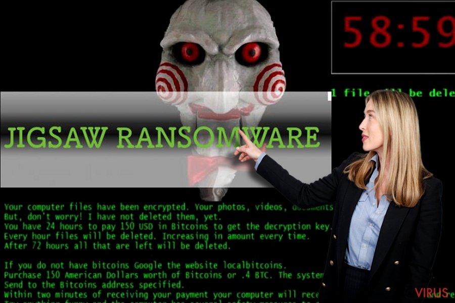 Jigsaw ransomware virus screenshot