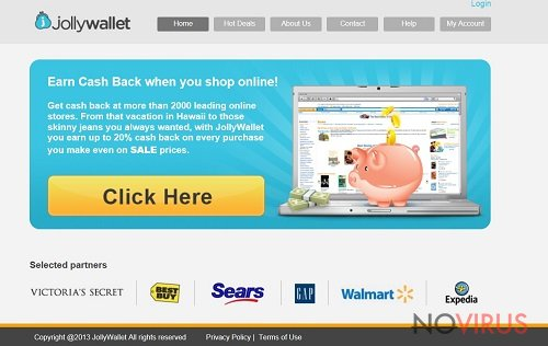 The example of Jollywallet adware