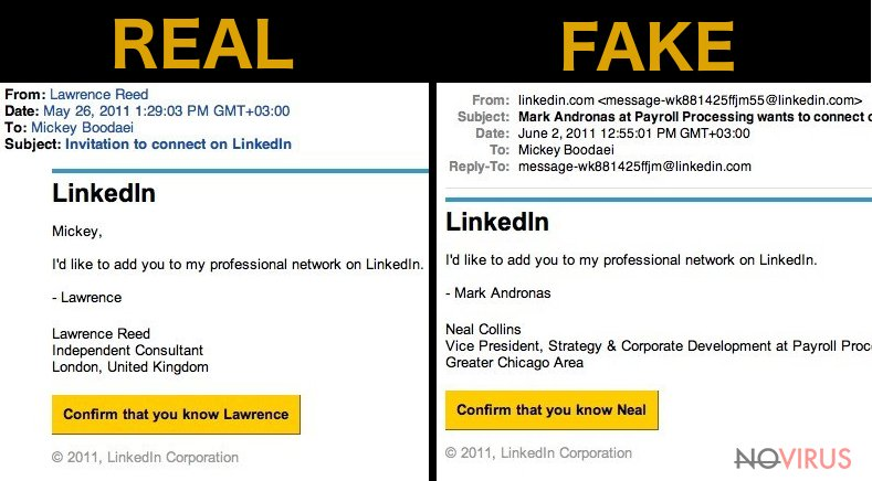 LinkedIn virus sends a fake email