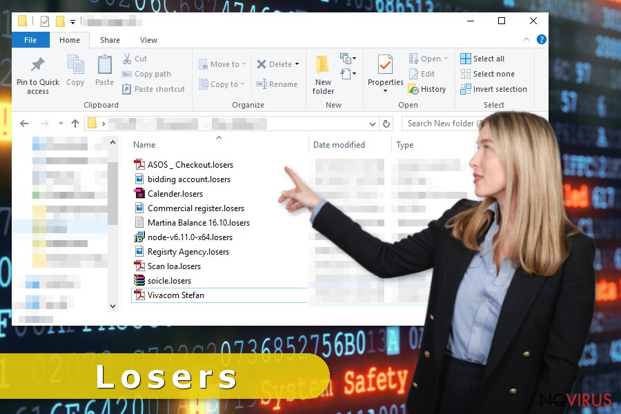 Losers ransomware virus blocks the access to victim's files