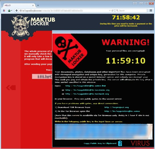 The example of Maktub virus attack