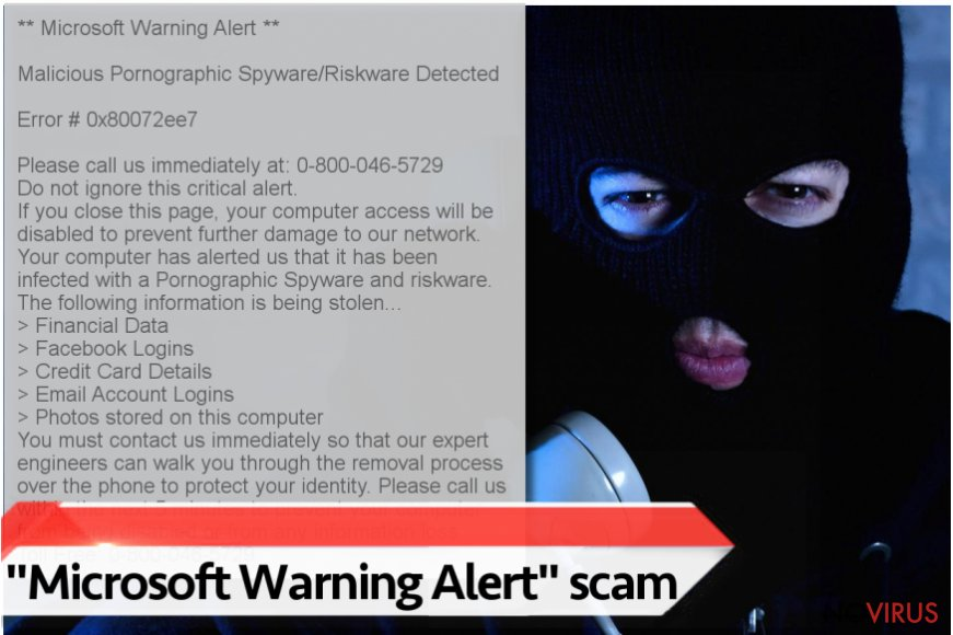 """Microsoft Warning Alert"" Tech support scam virus screenshot"