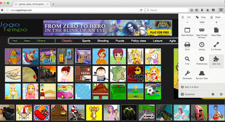 Jogotempo adware screenshot