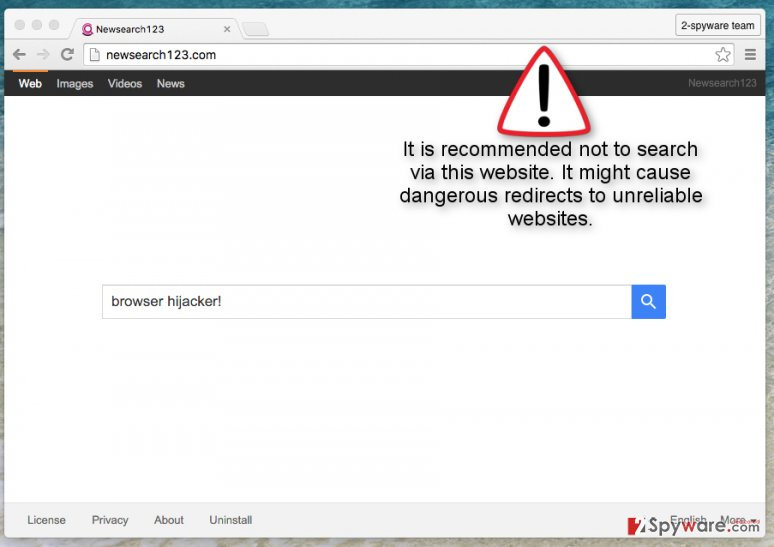 The picture showing Newsearch123.com browser hijacker