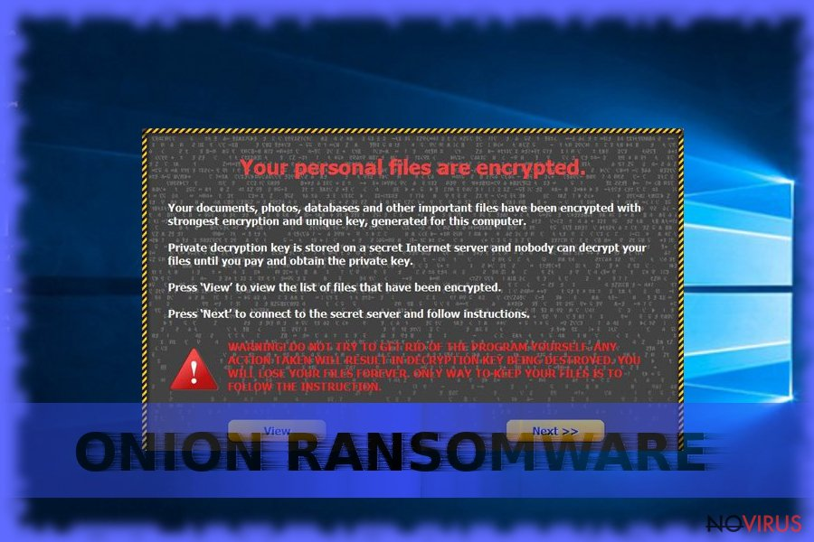 Screenshot of Onion ransomware