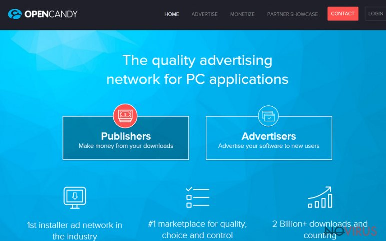 the picture showing opencandy and its main page