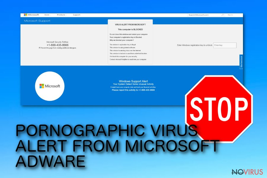 Pornographic Virus Alert From Microsoft message