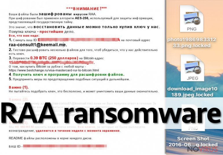 The example of RAA ransomware virus