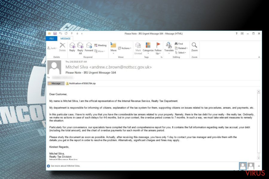 Rapid ransomware phishing email