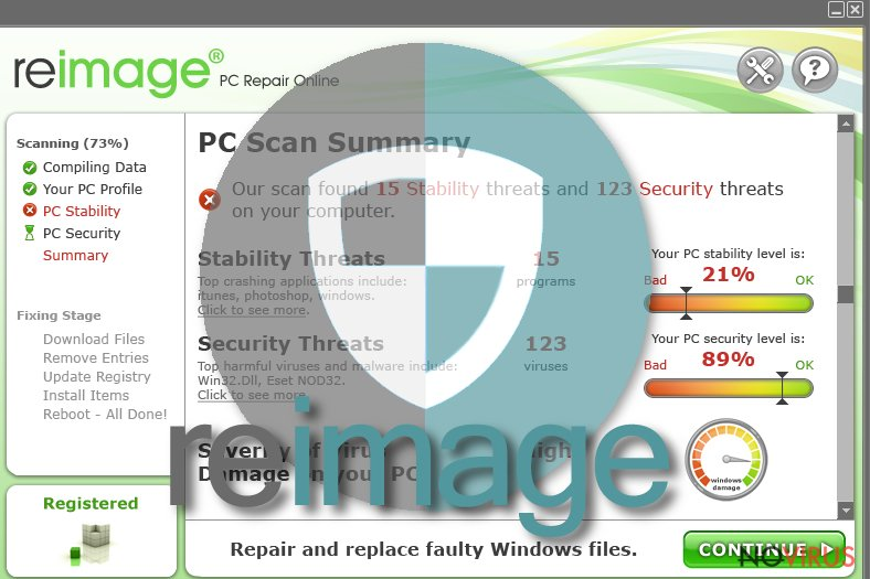 Reimage virus screenshot