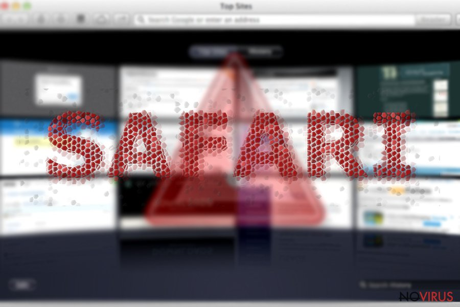 The picture showing Safari redirect infection