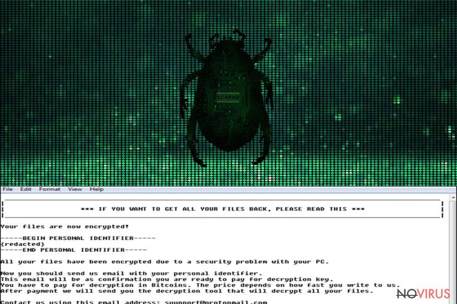 Scarab ransomware screenshot